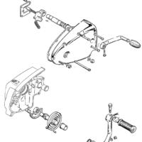 Gearbox cover, gearchange and kickstart crank