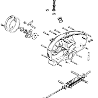 Primary case outer cover, chain tensioner and clutch control