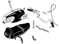 Petrol tank, handlebars and seat