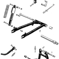 Swinging arm, centre stand and prop stand